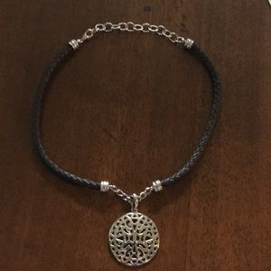 Braided Leather Rhodium Plated Medallion Necklace